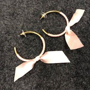 J Crew Pink Ribbon Hoop Earrings. One Size.